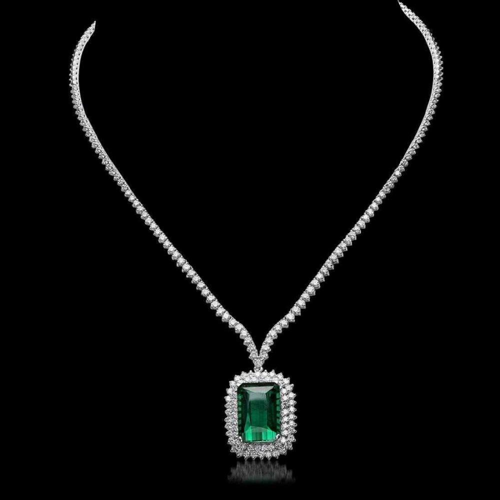 18K White Gold 21.36ct Tourmaline and 8.0ct Diamond Necklace