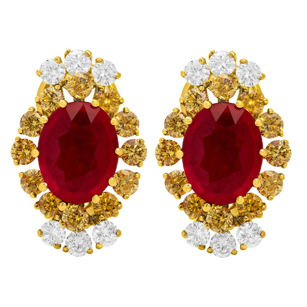 14k Yellow Gold 5.71ct Ruby 0.72ct & 1.56ct Diamond Earrings