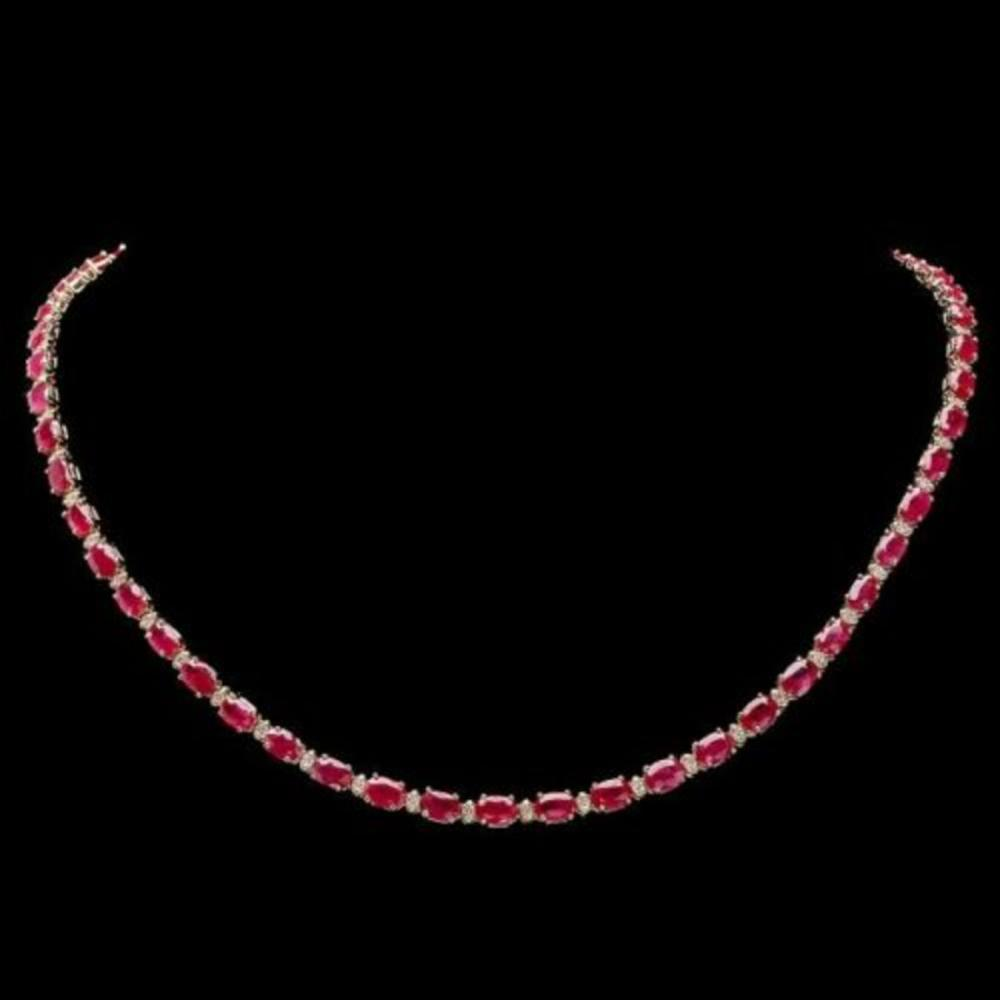 14K Yellow Gold 22.85ct Ruby and 1.05ct Diamond Necklace