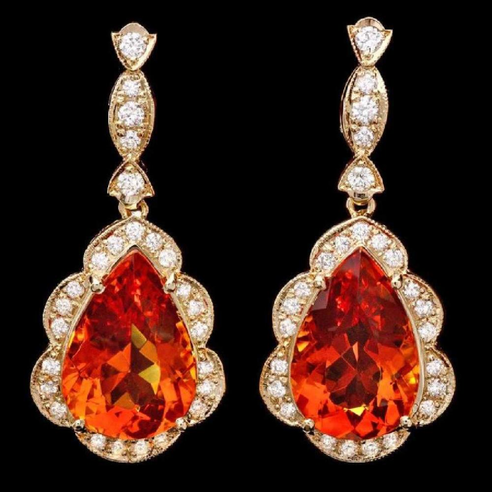 14K Yellow Gold 16.80ct Citrine and 1.23ct Diamond Earrings