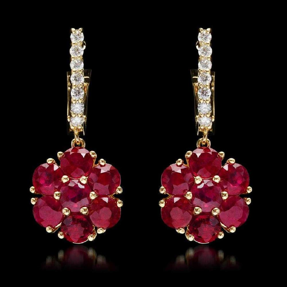 14K Yellow Gold 5.22ct Ruby and 0.42ct Diamond Earrings