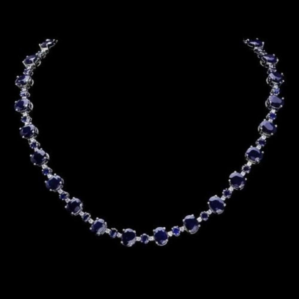 14K White Gold 56.35ct Sapphire and 1.56ct Diamond Necklace