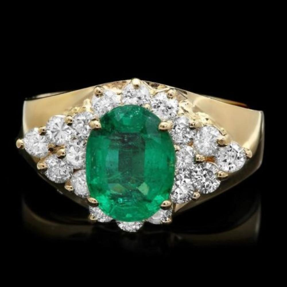 14K Yellow Gold 1.77ct Emerald and 0.81ct Diamond Ring