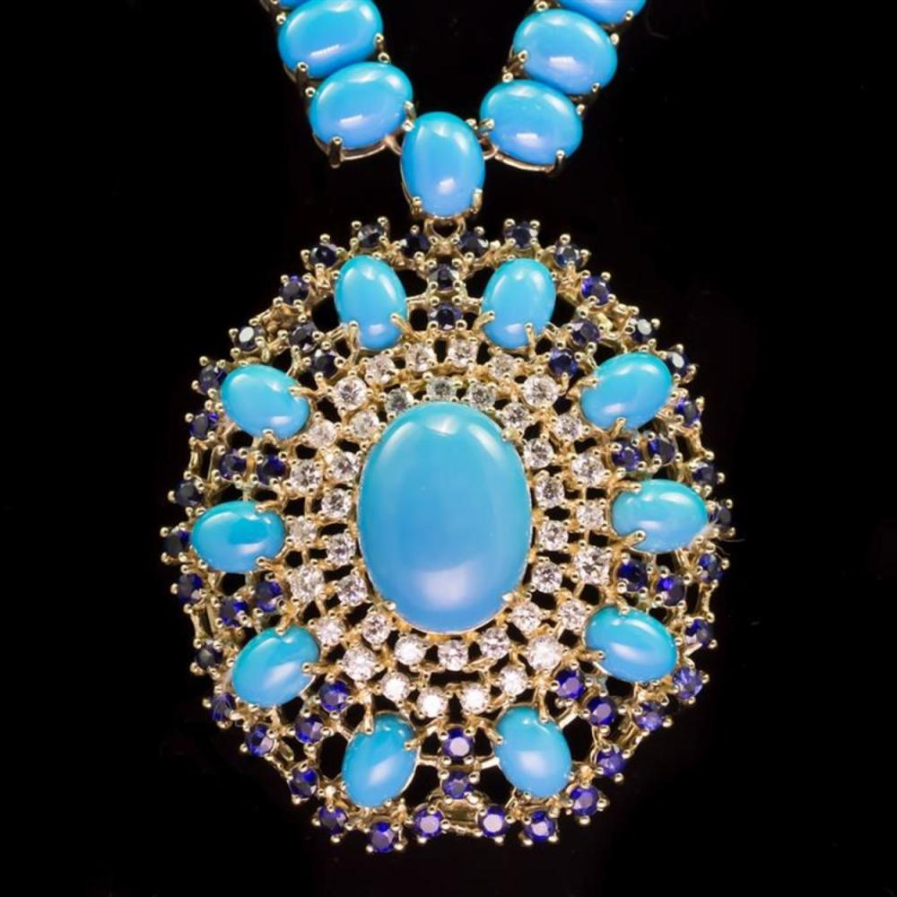96.03ct Turquoise, 3.13ct Sapphire 1.78ct Diamond Necklace