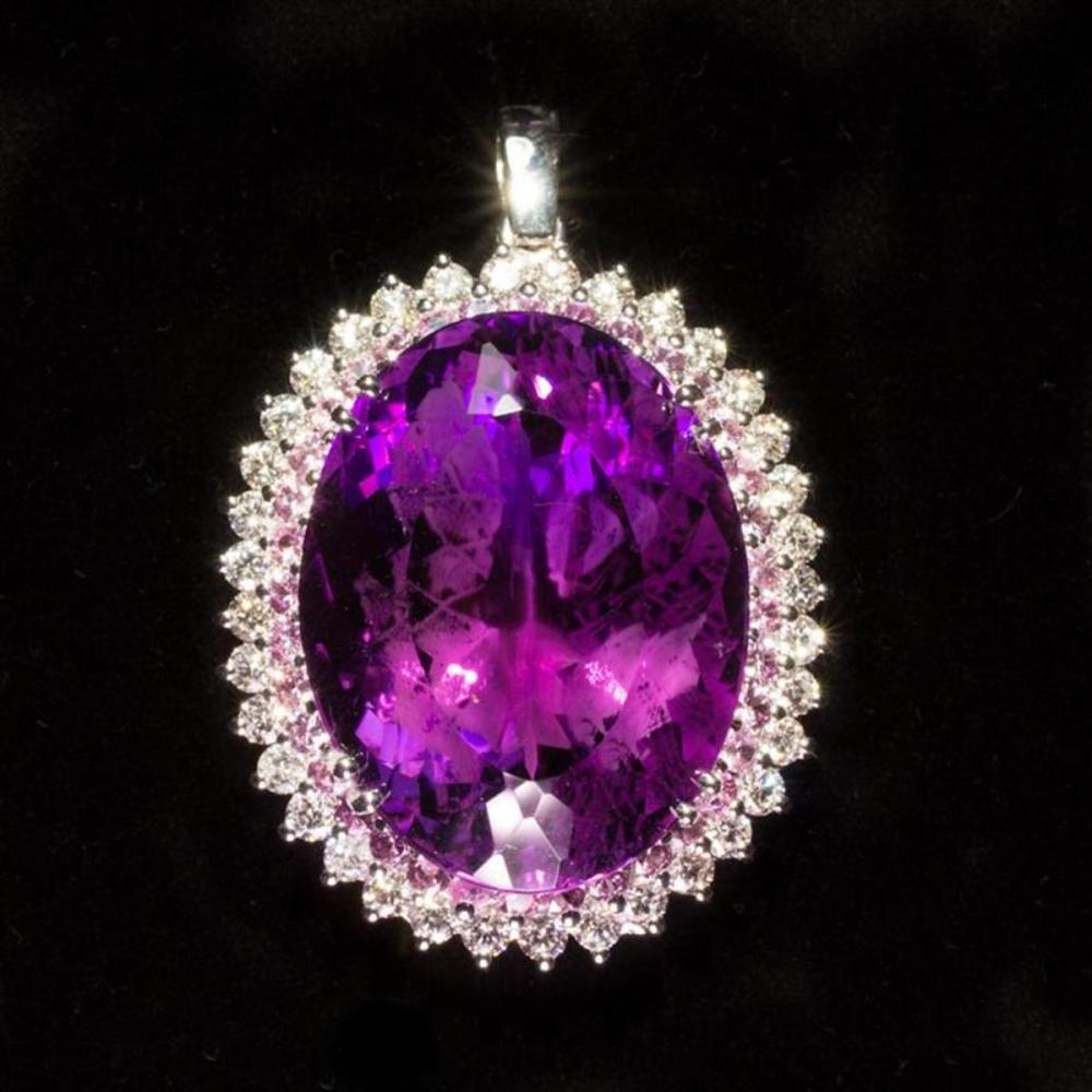 14K Gold Amethyst  Pink Sapphire and Diamond Pendant