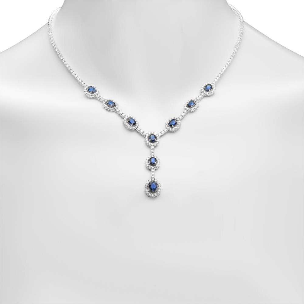 14K Gold 5.33ct Sapphire 5.70cts Diamond Necklace