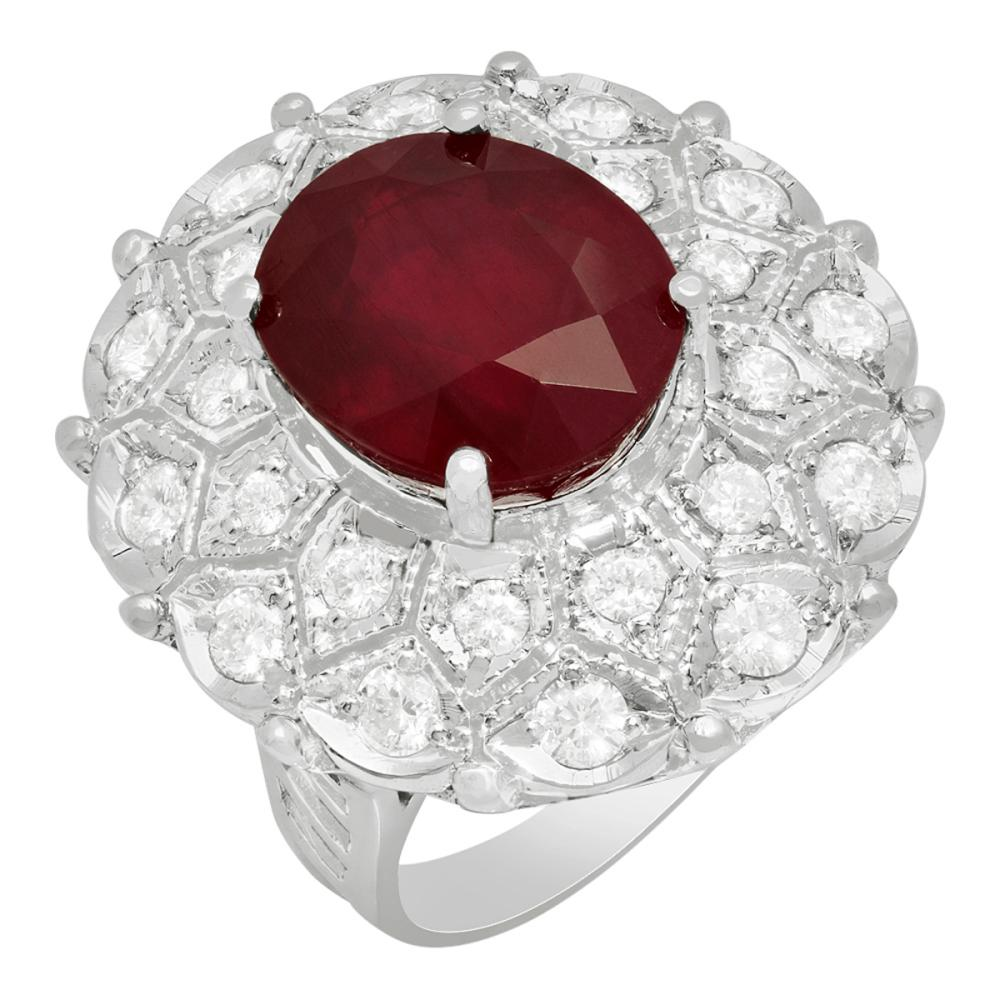 14K Gold 10.51ct Ruby and 1.76ct Diamond Ring