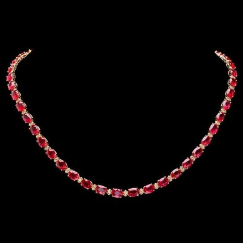 14K Yellow Gold 43.25ct Ruby and 1.15ct Diamond Necklace