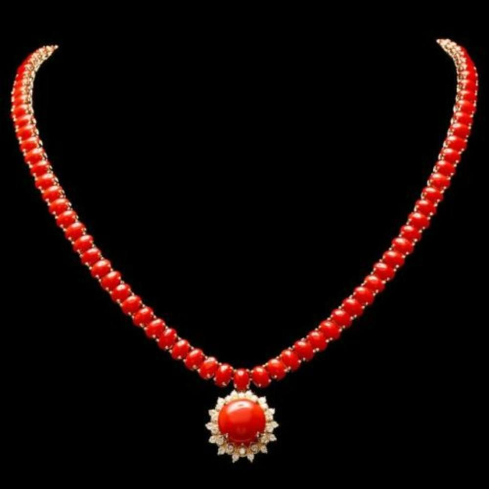 14K Yellow Gold 37.38ct Coral and 0.87ct Diamond Necklace