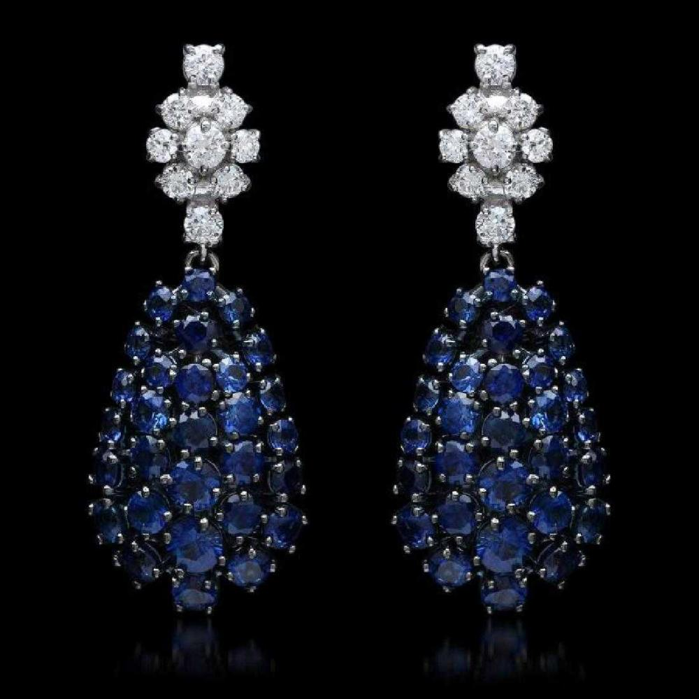 14K Black and White Gold 7.04ct Sapphire and 0.72ct Diamond Earrings
