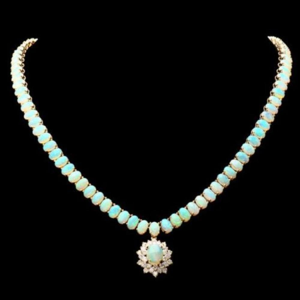 14K Yellow Gold 26.25ct Opal and 1.20ct Diamond Necklace