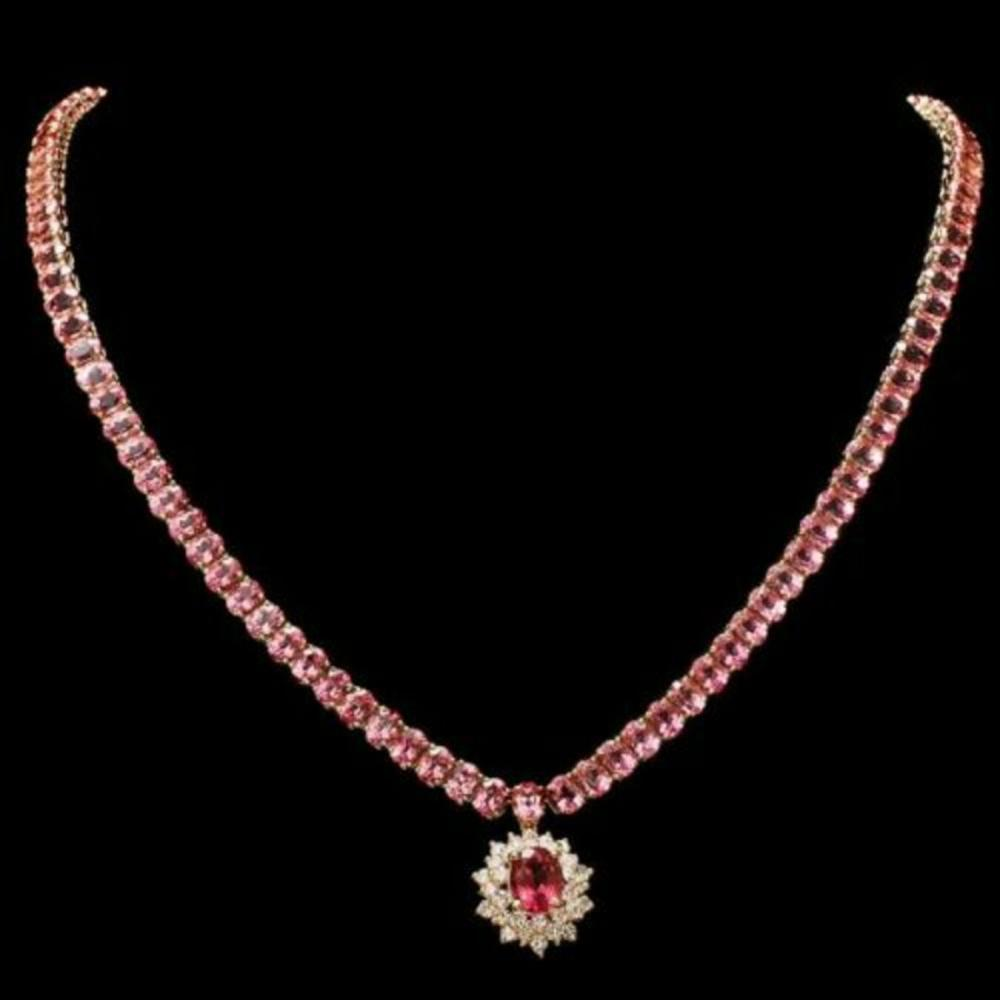 14K Yellow Gold 42.35ct Tourmaline and 1.20ct Diamond Necklace