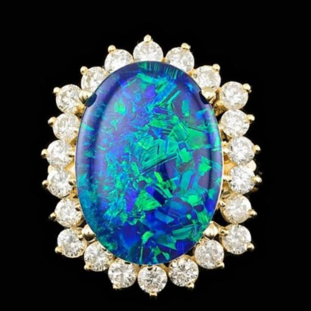 14K Yellow Gold 6.41ct Opal and 1.52ct Diamond Ring