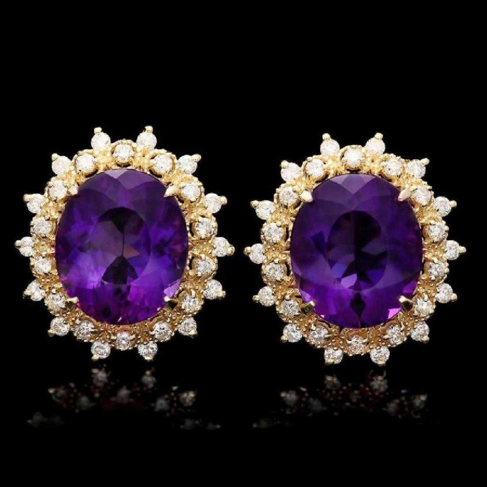 14K Yellow Gold 14.36ct Amethyst and 1.12ct Diamond Earrings