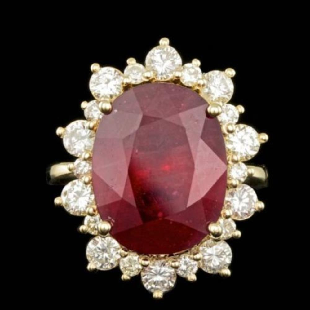 14K Yellow Gold 12.99ct Ruby and 1.83ct Diamond Ring