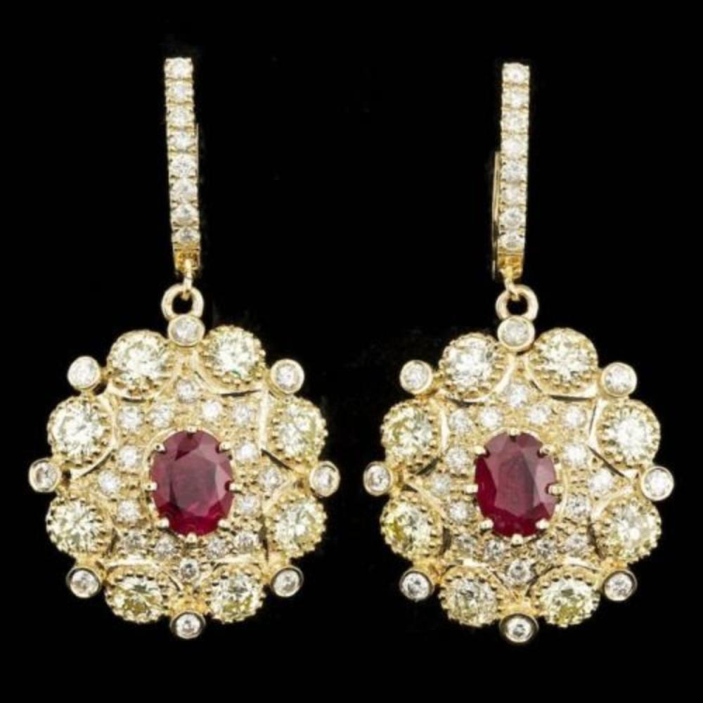 14k Yellow Gold 2.69ct Ruby 7ct Diamond Earrings