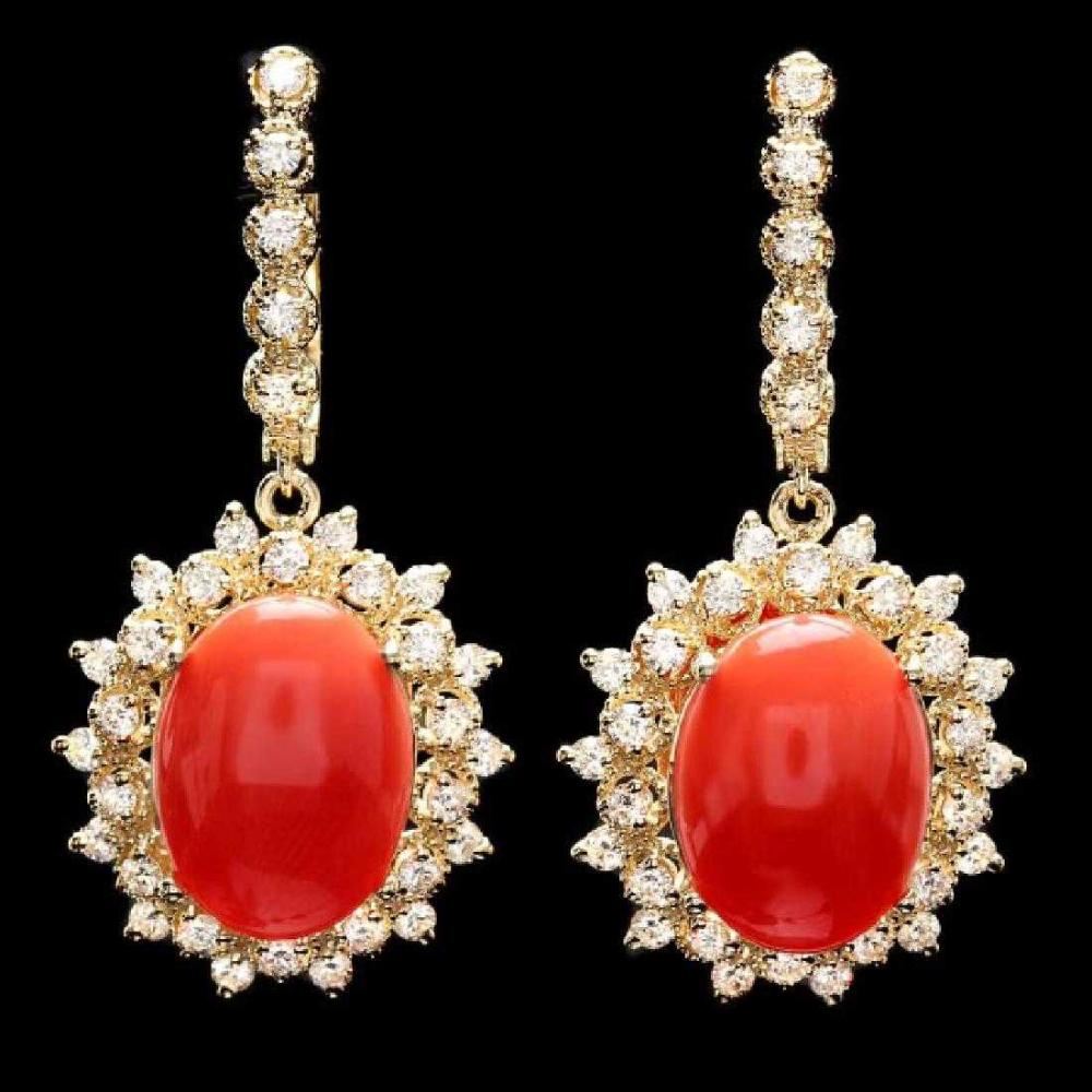 14K Yellow Gold 10.35ct Coral and 1.90ct Diamond Earrings