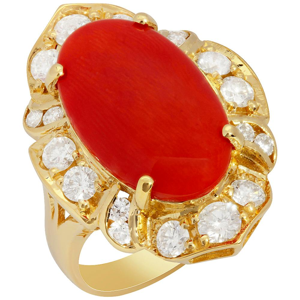14k Yellow Gold 5.55ct Coral 1.42ct Diamond Ring