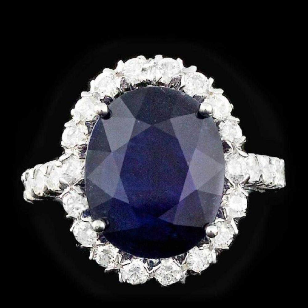 14K White Gold 7.82ct Sapphire and 1.23ct Diamond Ring