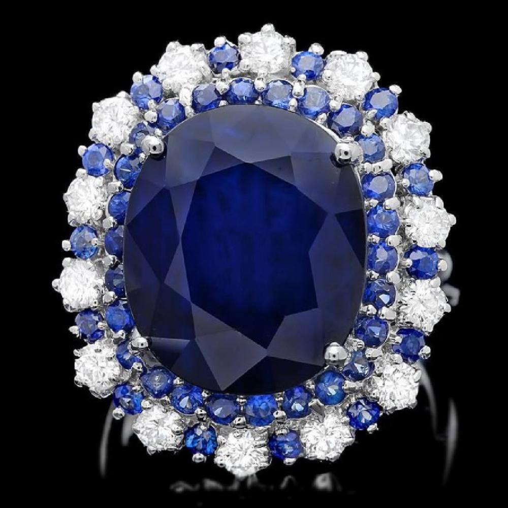 14K White Gold 16.77ct Sapphire and 0.63ct Diamond Ring