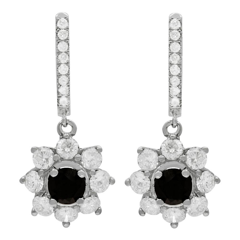 14k White Gold 2.55ct & 3.69ct Diamond Earrings