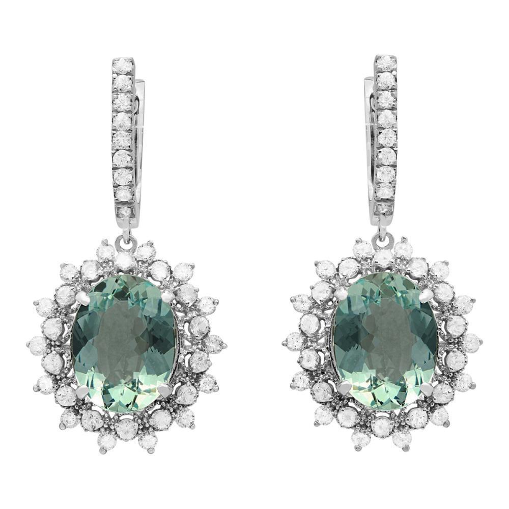 14k White Gold 8.87ct Aquamarine 0.80ct Diamond Earrings