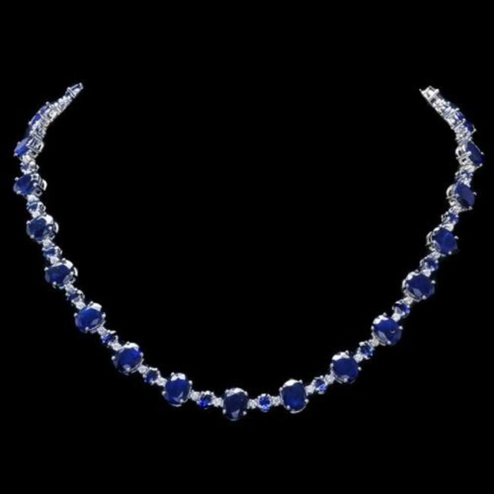 14K White Gold 56.77ct Sapphire and 1.64ct Diamond Necklace