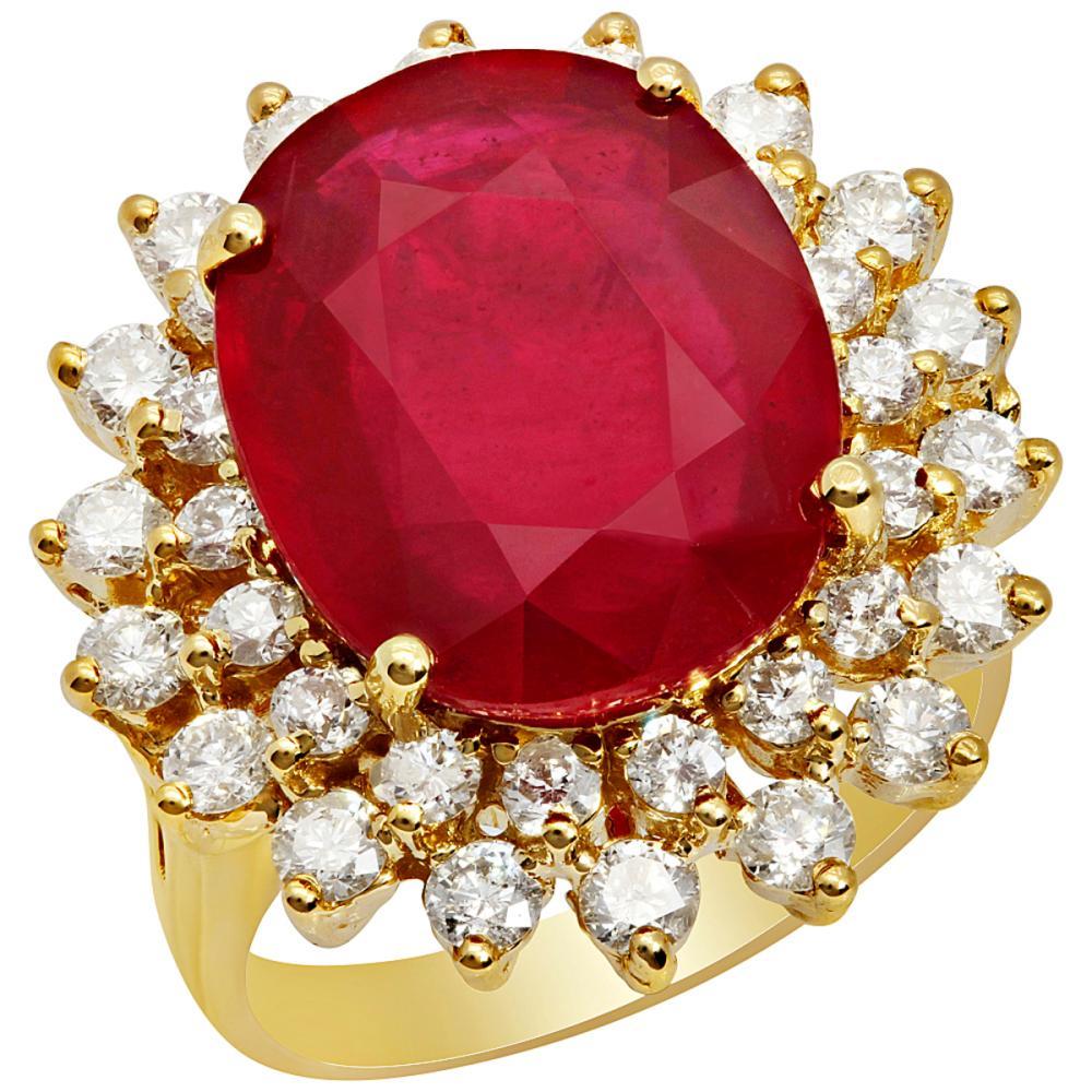14k Yellow Gold 9.88ct Ruby 1.51ct Diamond Ring