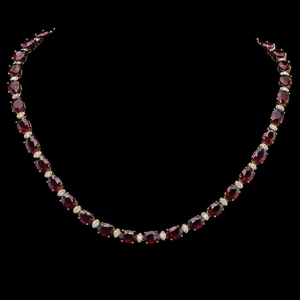 14K Gold 61.59ct Ruby & 2.14ct Diamond Necklace