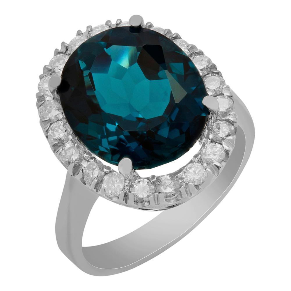 14k White Gold 9.25ct Blue Topaz 0.82ct Diamond Ring