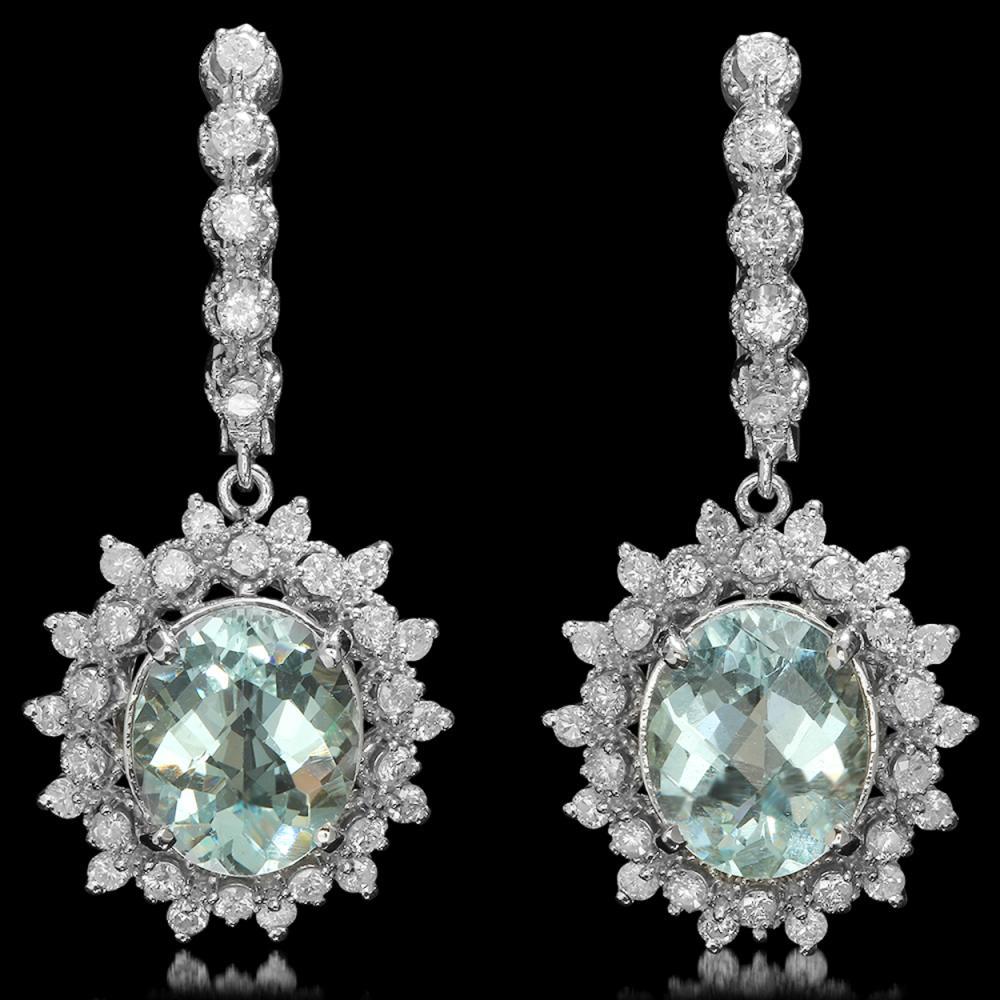 14K Gold 6.02ct Aquamarine 1.64ct Diamond Earrings