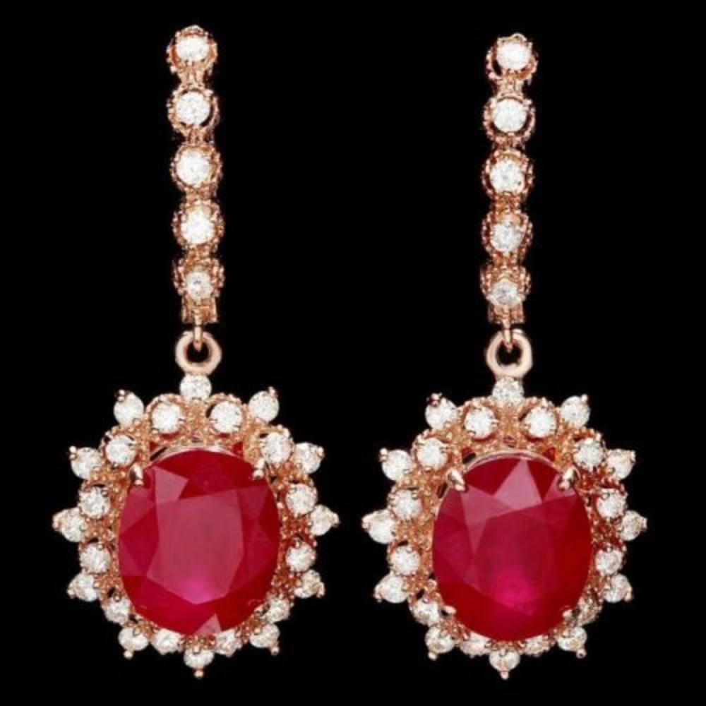 14k Rose 14.33ct Ruby 1.57ct Diamond Earrings