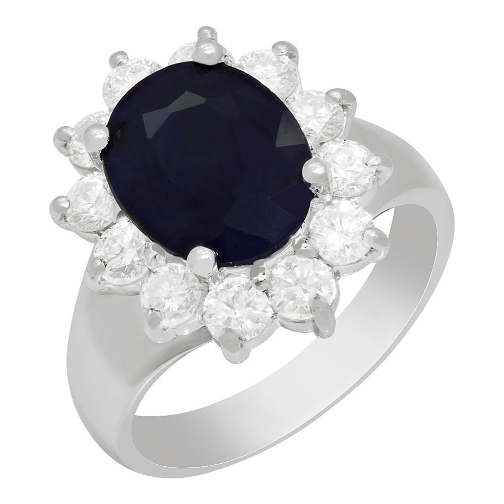 14k White Gold 2.96ct Sapphire 0.91ct Diamond Ring