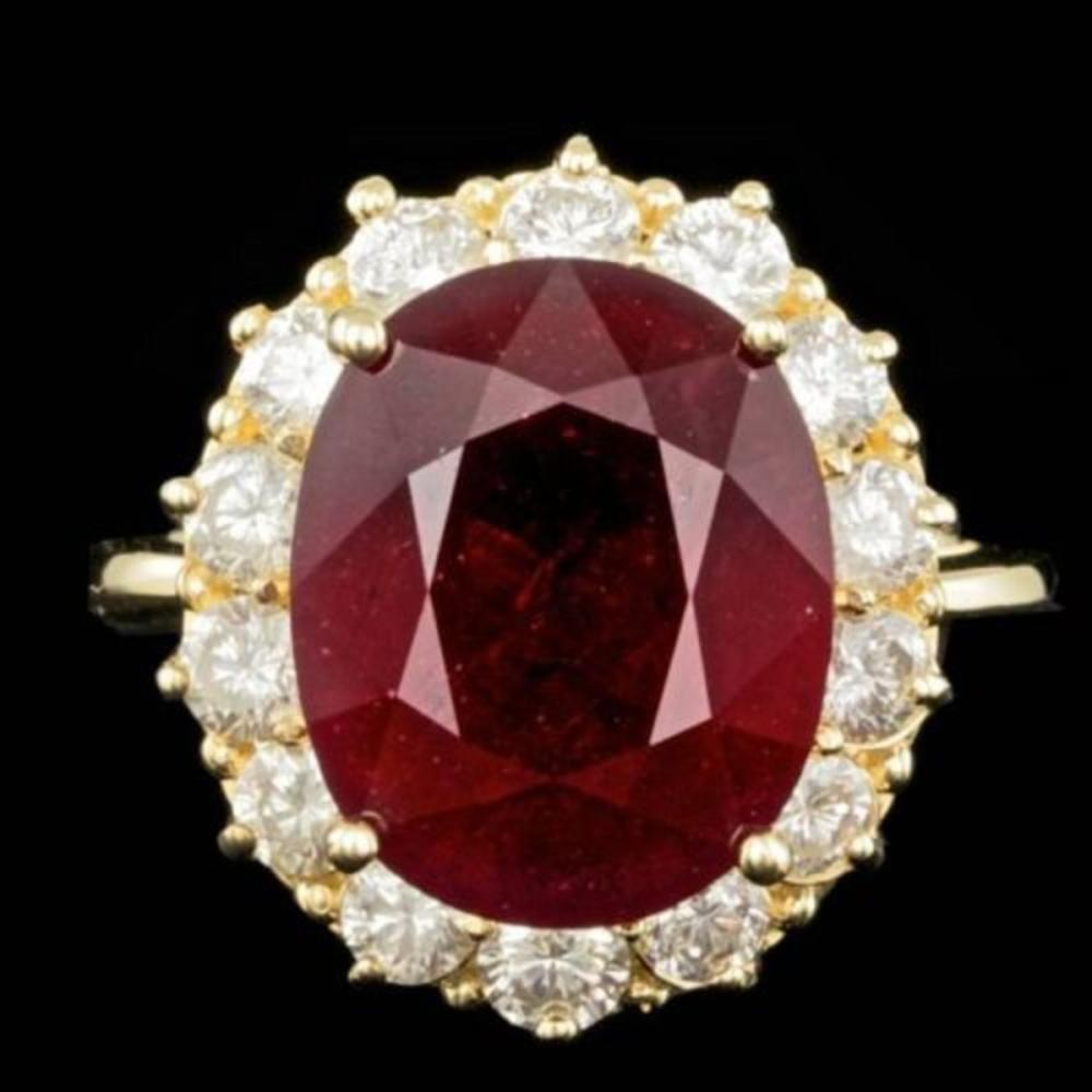 14K Yellow Gold 11.78ct Ruby and 1.48ct Diamond Ring