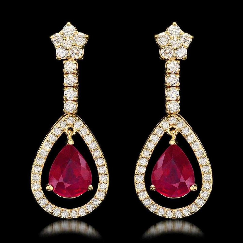 14K Yellow Gold 9.32ct Ruby and 2.68ct Diamond Earrings