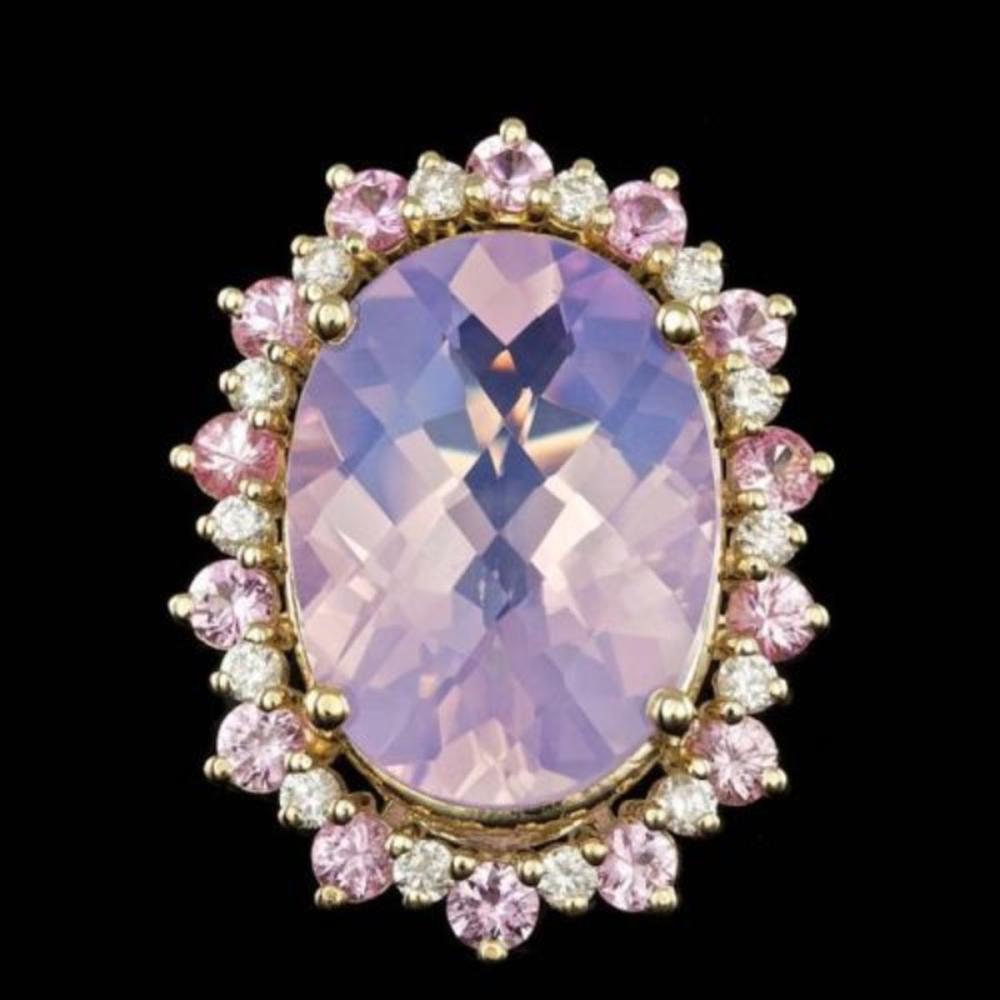 14K Yellow Gold 13.87ct Amethyst 1.99ct Sapphire and 0.72ct Diamond Ring