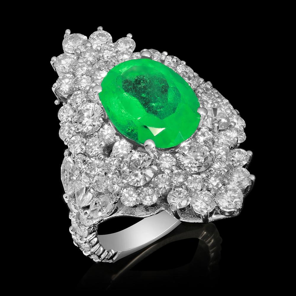 14k White Gold 4.23ct Emerald 4.60ct Diamond Ring