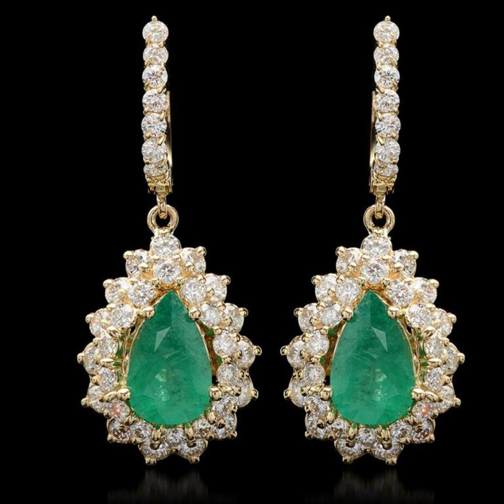 14K Gold 3.28ct Emerald 3.12ct Diamond Earrings