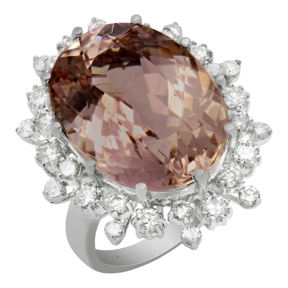 14k White Gold 19.84ct Morganite 1.43ct Diamond Ring