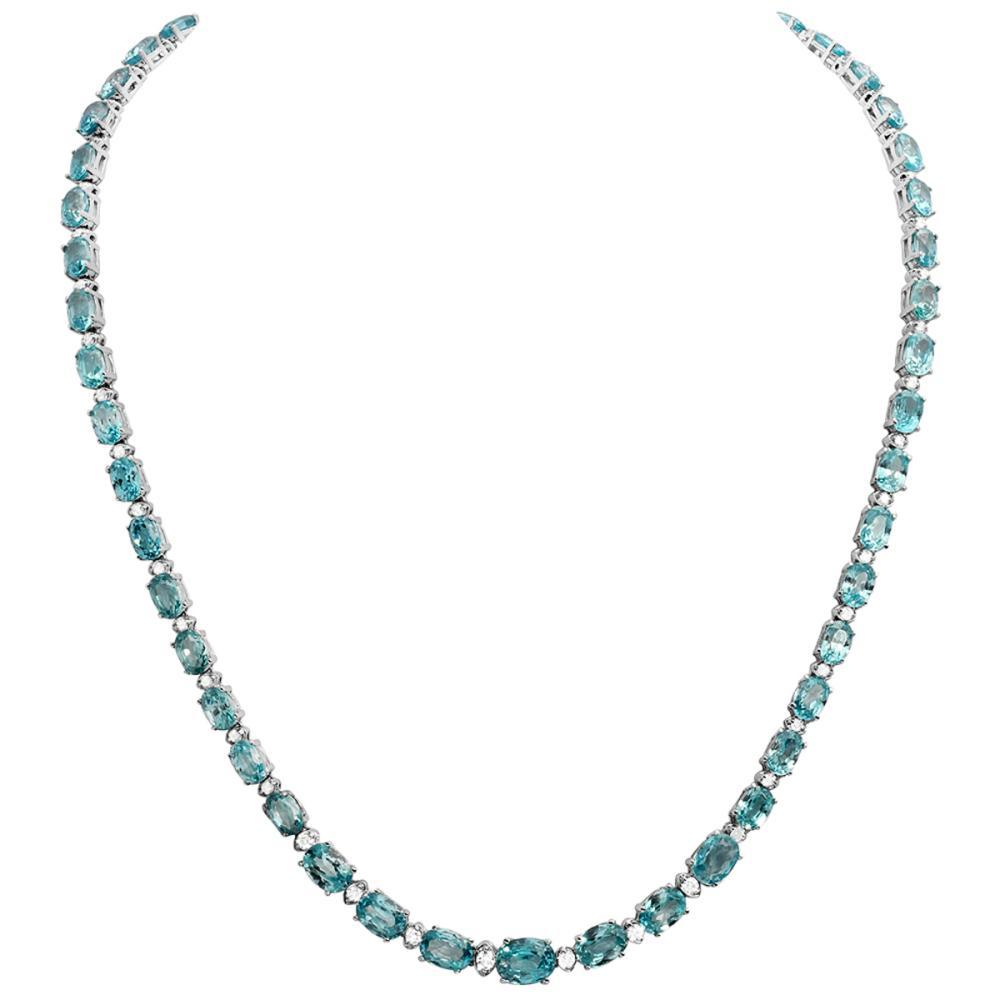 14k White Gold 47.14ct Blue Zircon 1.27ct Diamond Necklace