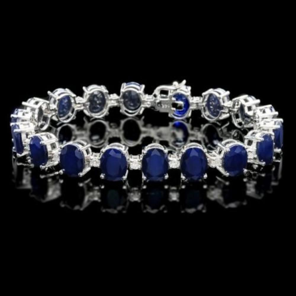 14K Gold 40.07ct Sapphire 1.39ct Diamond Bracelet