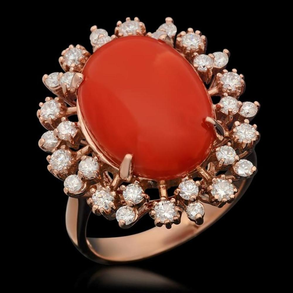 14K Rose Gold 7.81ct Coral and 1.03ct Diamond Ring