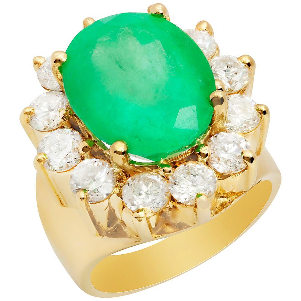 14k Yellow Gold 8.83ct Emerald 2.97ct Diamond Ring