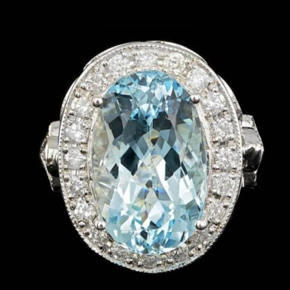 14K White Gold 6.99ct Aquamarine and 1.64ct Diamond Ring