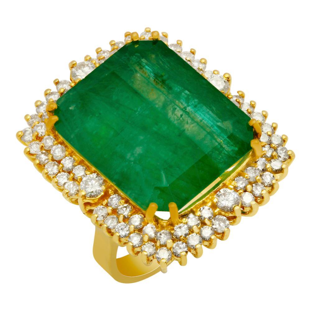 14k Yellow Gold 28.96ct Emerald 2.55ct Diamond Ring