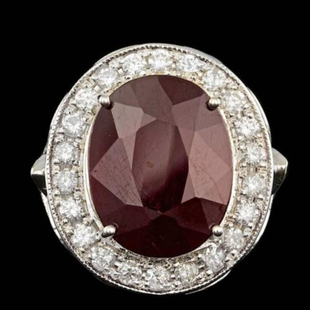 14K White Gold 12.69ct Ruby and 1.91ct Diamond Ring