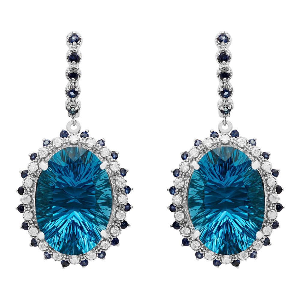 14k White Gold 51.78ct Topaz & 1.83ct Sapphire 1.12ct Diamond Earrings