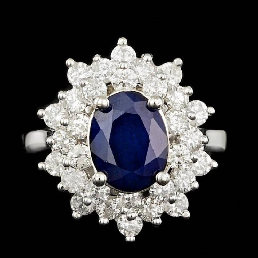 14K White Gold 1.96ct Sapphire and 1.20ct Diamond Ring