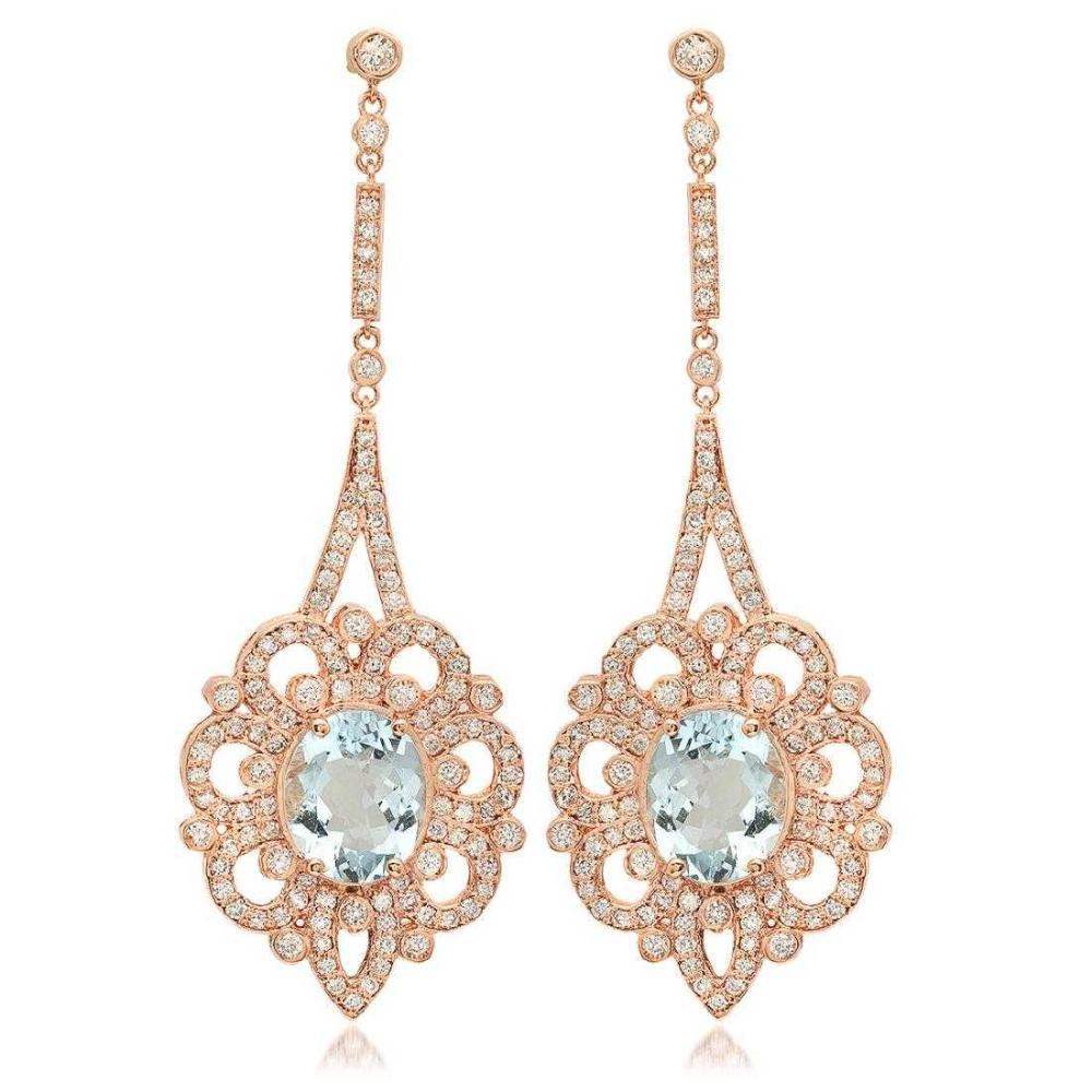 14K Rose Gold 7.37ct Aquamarine and 2.57ct Diamond Earrings
