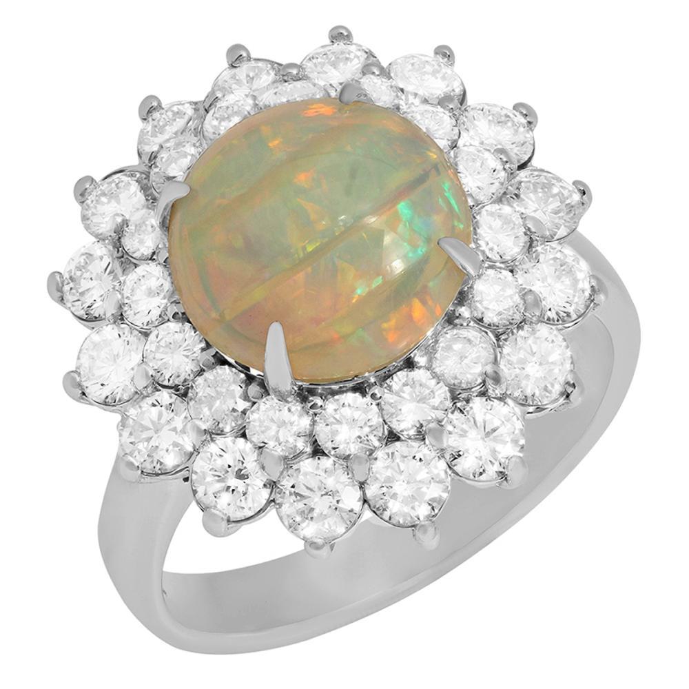 14k White Gold 2.75ct White Opal 1.92ct Diamond Ring